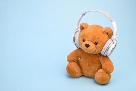 Teddy Bear with headphones copy space