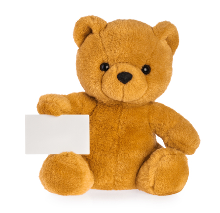 toy bear holding empty board isolated white background Stock Photo