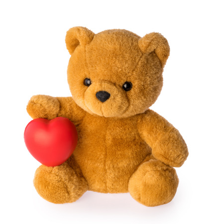 Teddy bear with heart love concept on white background clipping path
