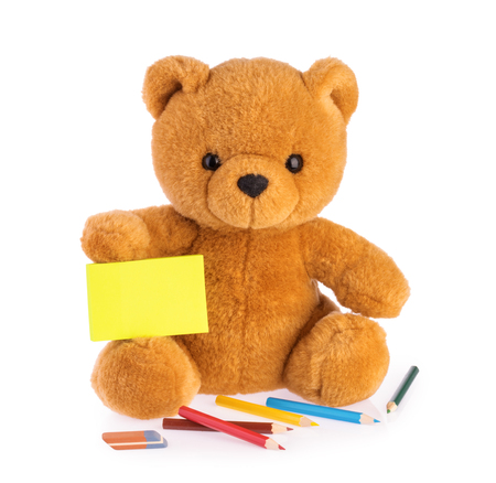 Teddy bear. child drawing concept isolated white background