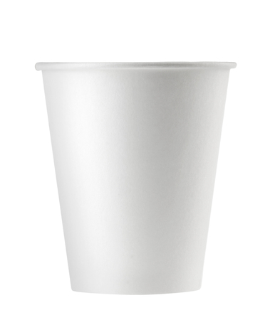 disposable empty white paper cup isolated. Clipping path - Image
