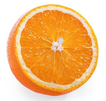 Orange fruit slice white background