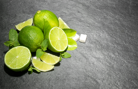 Limes and mint Top view