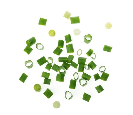 chopped green onions on white 스톡 콘텐츠