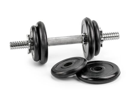 Gym dumbbells isolated white background