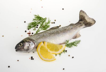Trout fish with spices top view Stock Photo