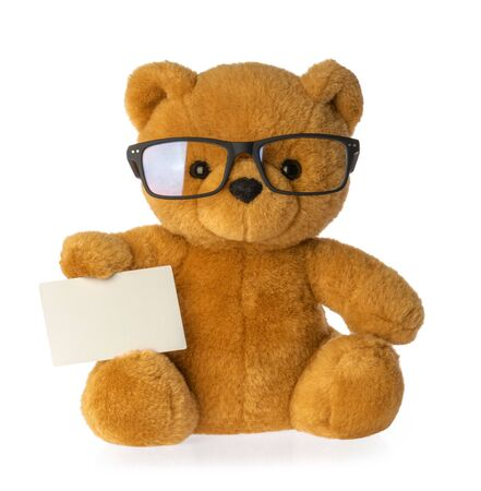 toy bear holding empty board isolated clipping path