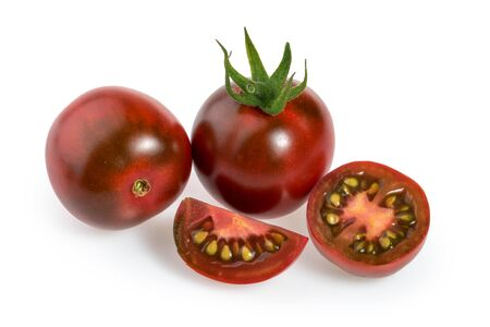 Black cherry tomatoes isolated white background