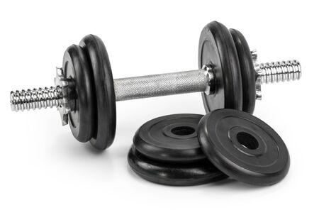Gym dumbbells isolated white background Stockfoto