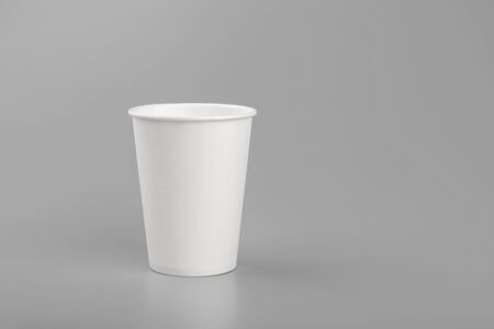 disposable empty white paper cup copy space