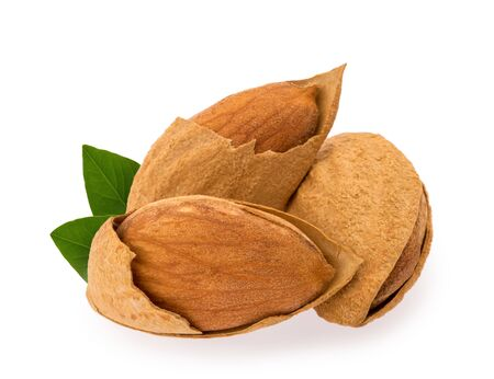 Almond nuts isolated on white background Stockfoto