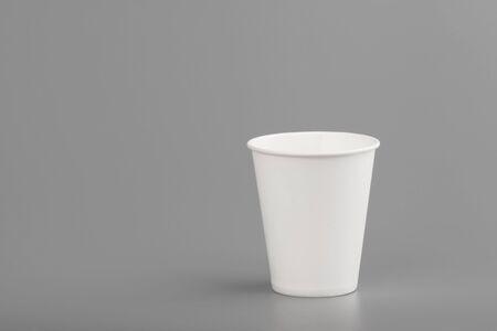 disposable empty white paper cup copyspace Stockfoto