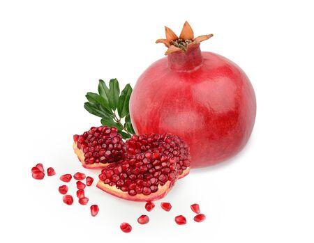 Pomegranate fruit isolated white background