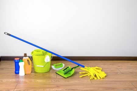 House cleaning - Cleaning accessories on floor room