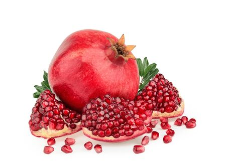 Pomegranate fruit isolated white background