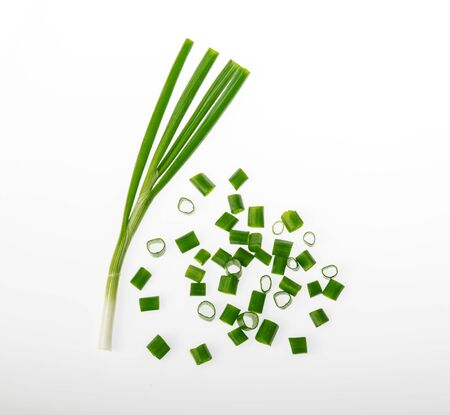 chopped green onions top view