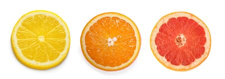 citrus slices, orange, lemon, grapefruit, isolated on white background
