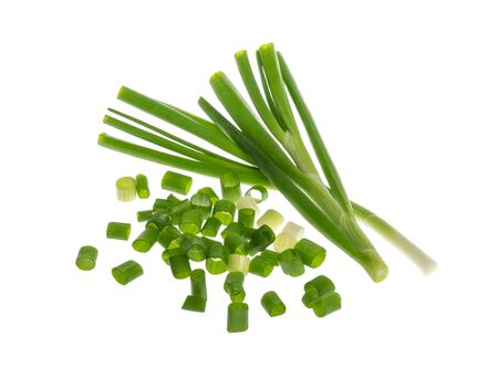bunch of green onions isolated without shadow
