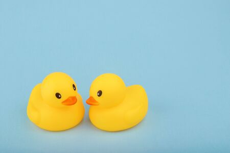 yellow rubber ducks on blue background