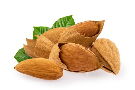 Almond nuts isolated on white background Stock fotó