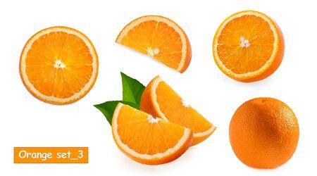 Orange fruit isolated on white background, set3