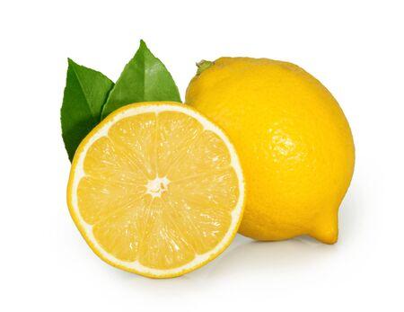 Zitrone lokalisiert auf weißem Hintergrund Standard-Bild