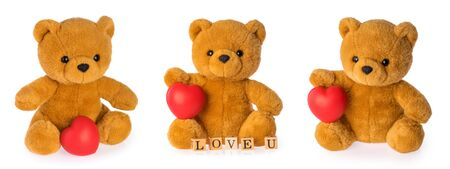 Teddy bear with heart love concept on white background