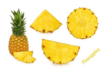 Pineapple slices isolated white background Stock fotó