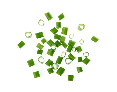 chopped green onions isolated on white background