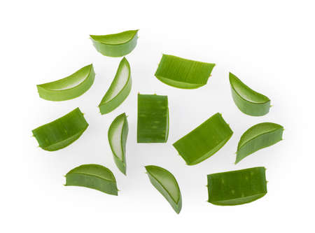 Aloe vera sliced plant isolated white background Banque d'images