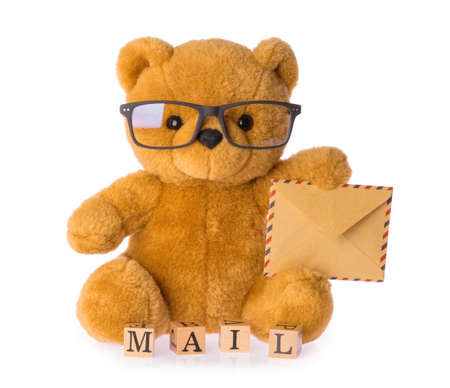 toy bear holding envelope mail concept isolated white background