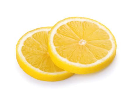 Lemon slices isolated white background