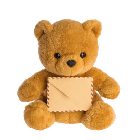 toy bear holding envelope mail concept isolated without shadow
