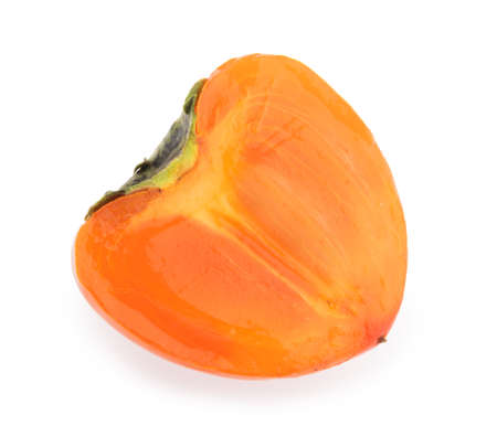 half of persimmon fruit isolated white background clipping path