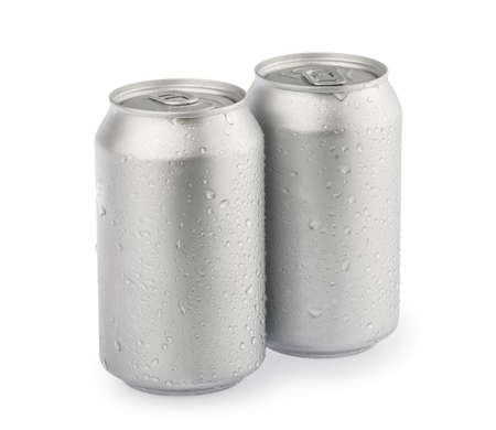wet metal aluminum beverage drink cans isolated on white background clipping path. photography