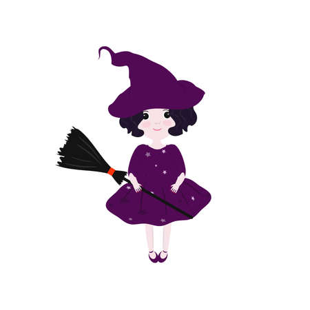 violet red: Cute witch in purple dress with a broom. Illustration