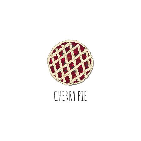Cherry pie illustration. Illustration