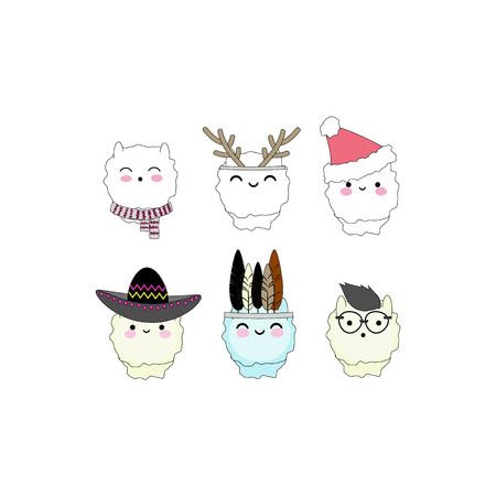 Set of 6 with alpacas faces.