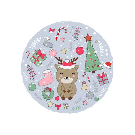 Vector illustration with cute kawaii reindeer and christmas stuff: tree, sweets, holly berry, decorations and toys. Illustration