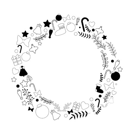Beautiful vector christmas wreath in black and white color palette with traditional christmas things: sweets, toys, decorations and berries, perfect stuff for christmas-inspired ideas. Illustration