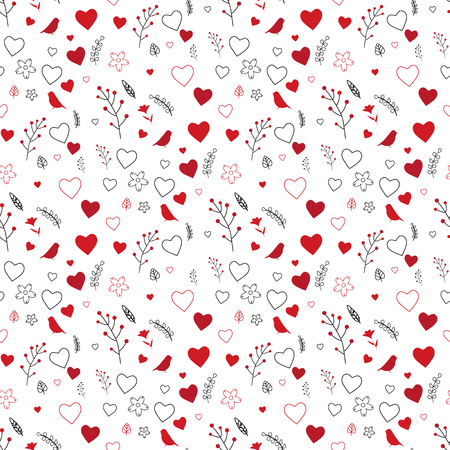 Seamless vector pattern in Scandinavian style with love inspired things.