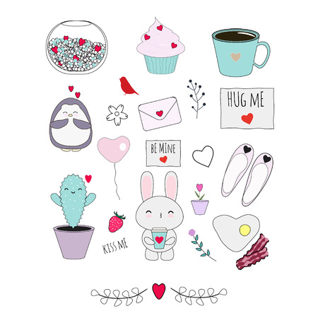 Big vector set with cute things in love-inspired theme: animals, flowers, sweets, plants, etc. Good stuff for cards, stickers, patches, etc.