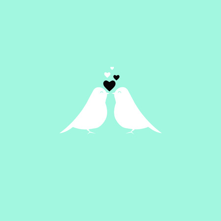 Vector illustration with birds and hearts, goor stuff for greeting cards. Illustration