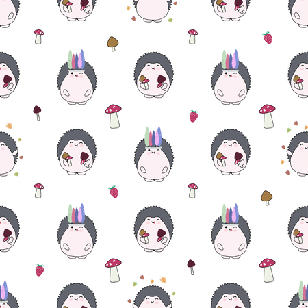Seamless vector pattern with cute hedgehogs, strawberry, leaves and mushrooms. Good for fabrics, wrapping paper and baby textile. Illusztráció