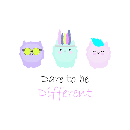 Vector illustration with cute alpacas and motivational quote.  イラスト・ベクター素材