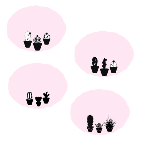 Set of four vector patches with potted succulent plants on pink background, use it for patches, stickers, invitations, lables, etc. Ilustrace