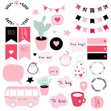 Big set of vector stickers in Valentine's Day theme. Good for patches, scrapbooking, planners, bullet journals, etc.