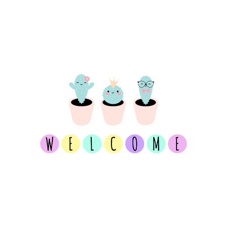 Vector illustration with cute kawaii cacti and word: ''Welcome''. Perfect for greeting cards, invitations, banners, etc. Vectores
