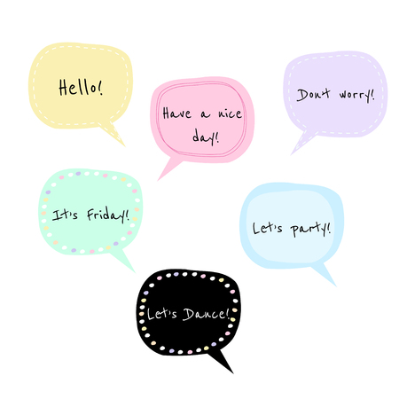 Set of 7 vector speech bubbles with phrases, perfect for bullet journal stickers, scrapbooking, etc. 向量圖像