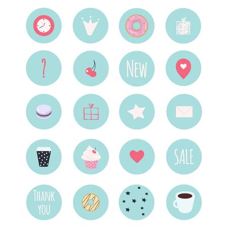 Ensemble de 20 icônes vectorielles comprenant des bonbons pour votre entreprise de pâtisserie, scrapbooking, bullet journal Vecteurs